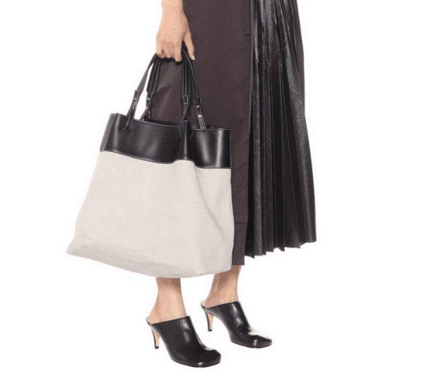 画像1: bucket bag leather and canvas portable shoulder large-capacity shopping bag 本革 レザー&キャンバスポータブルショルダーショッピングバッグトートショルダーバッグ  (1)
