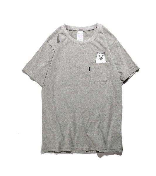 画像1: pocket middle finger cat  short sleeve T-shirt  men and women  ミドルフィンガーキャットオーバーサイズ半袖Tシャツ ユニセックス 男女兼用 (1)