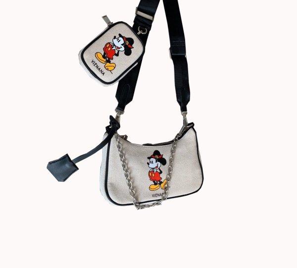 画像1: Mickey canvas bag shoulder Messenger bag ミッキーマウスキャンバスショルダーメッセンジャーバッグ  (1)