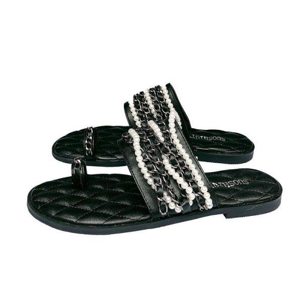 画像1: women's  pearl chain flat sandals  パール&チェーン付きフラットサンダル スリッパ   (1)