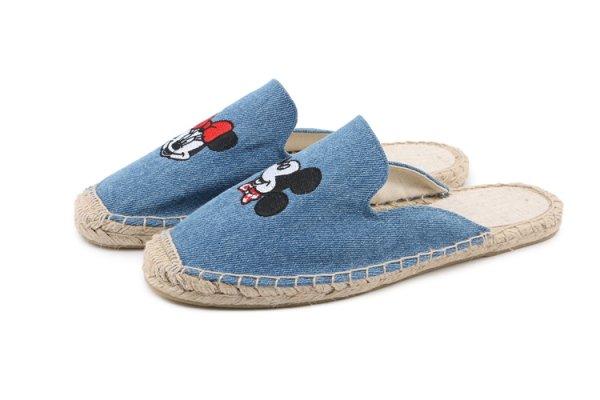 画像1: Women Mickey espadrilles flat sandals  slippers  slippers ミッキーエスパドリーユフラットサンダル (1)