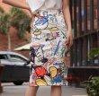 画像3: Women's Mickey graffiti print printed pencil tight skirt ミッキー グラフィックペイント タイト ペンシル 膝丈 スカート (3)