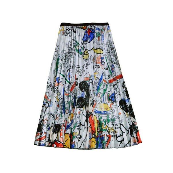 画像1: Women's Mickey comic cartoon printed pleated skirt ミッキー グラフィックペイント ロング丈 膝丈プリーツスカート (1)