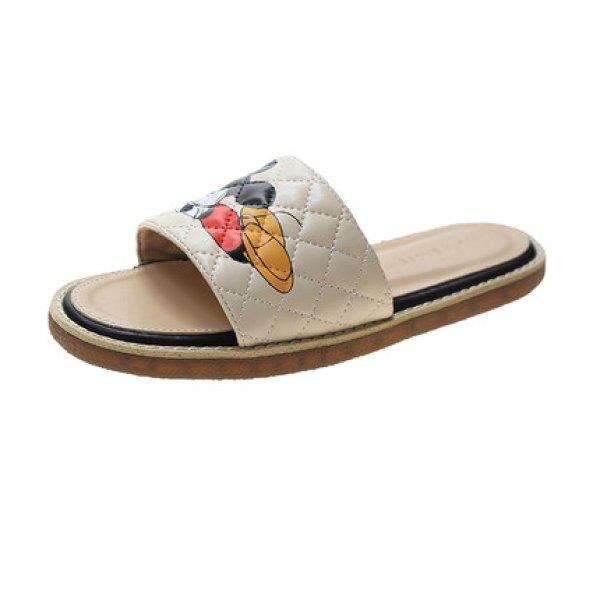 画像1: Women flat Mickey Mouse Quilted Sandals Slippers flip-flops  フラットミッキーキルティングサンダル  フリップフロップ  (1)