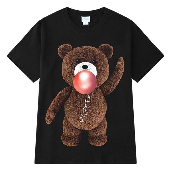 画像1: Unisex men's men and women loose short sleeve bear print round neck tshirts ユニセックス男女兼用ベアープリントTシャツ (1)