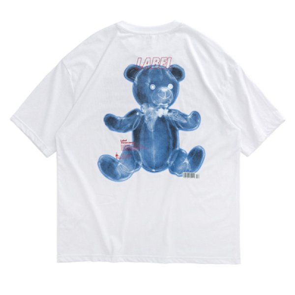 画像1: Unisex men's men and women funny bear letter printing loose short sleeve  T-shirt ユニセックス男女兼用ファニーベアープリントTシャツ (1)