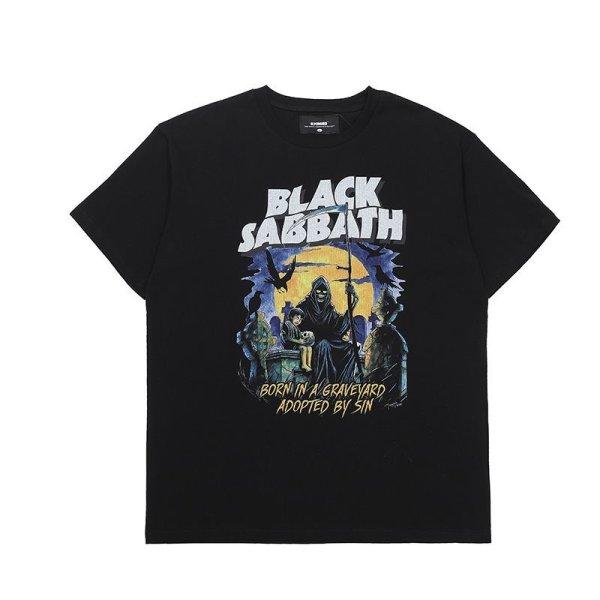 画像1:  dark black Asian forced short-sleeved T-shirt  オーバーサイズ ユニセックス 男女兼用ダークブラックアジアン半袖Tシャツ (1)