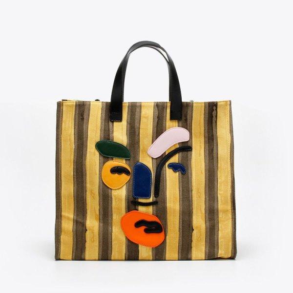 画像1: Woman's contrast color clown big TOTE messenger bag   コントラスト ストライプカラーピエロビッグトートバック 男女兼用 (1)