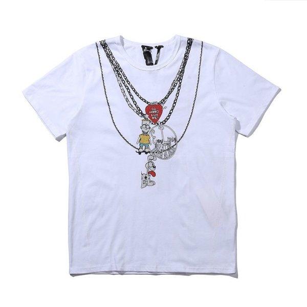 画像1: Vlone new spoof Simpson cartoon print  short sleeve T-shirt  オーバーサイズ ユニセックス 男女兼用ニューシンプソンプリントTシャツ (1)