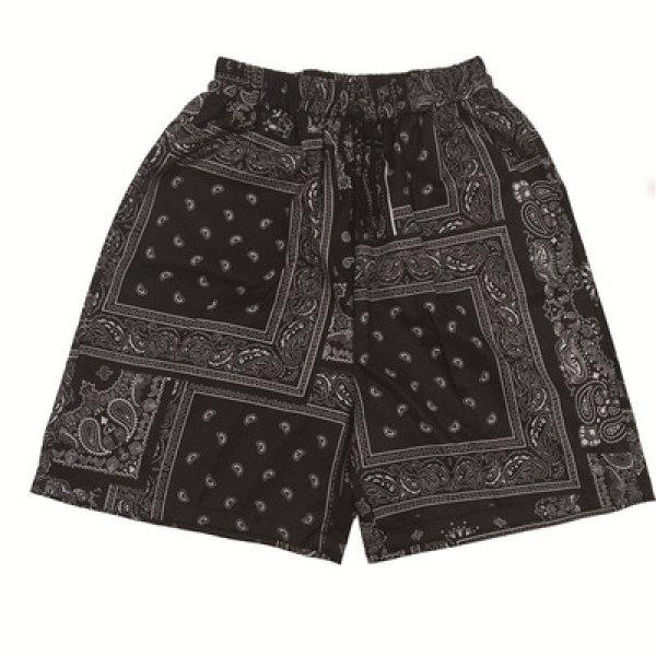 画像1: Unisex Men's  paisley bandana pattern half shorts pantsユニセックス 男女兼用ペイズリーバンダナ柄ハーフショートパンツ (1)