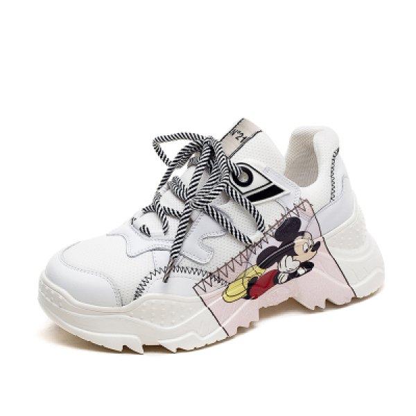 画像1: Women's Real Leather Mickey Mouse Chunky Sole Lace Up Sneakers ミッキーマウス リアルレザー 本革 チャンキーソール 厚底 レースアップ スニーカー (1)