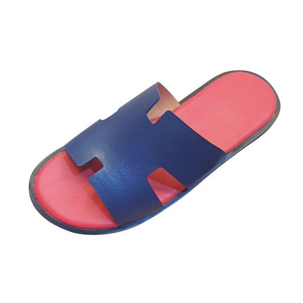 画像1:  men's leather H  flat slippers sandals  フラット本革レザーHサンダル スリッパフリップフロップ (1)