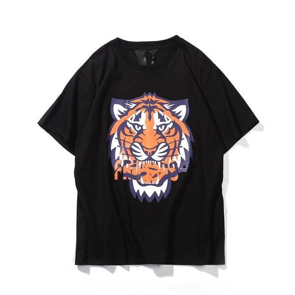 画像1: men's VLONE tiger head big V short sleeve  T-shirt ユニセックス 男女兼用タイガーヘッドプリントTシャツ (1)