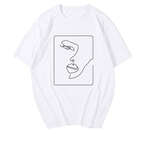 画像1: Women's  characters Facebook emoji printing T-shirt   キャラクターフェイスプリント半袖Tシャツ  (1)