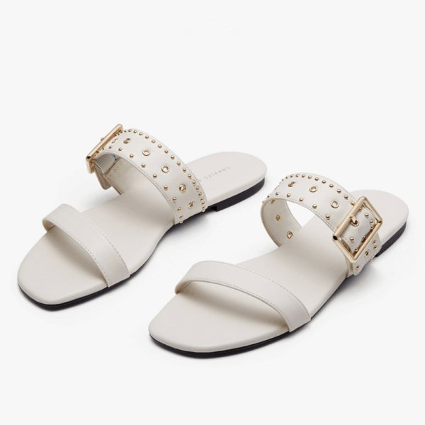 画像1: Women rivet decoration ladies flat sandals  slippers  レザースタッズ付きフラットサンダル スリッパ (1)
