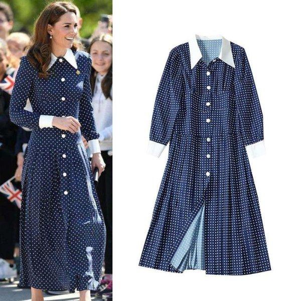 画像1: Womens Navy Silk Pleated Polka-Dot  Shirt Long Maxi Dress シルク 水玉 ドット シャツ プリーツ ロング マキシ ワンピース ドレス (1)