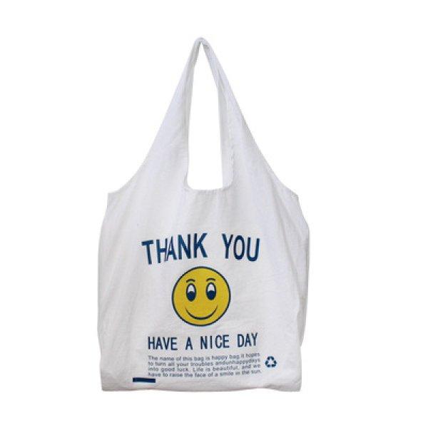 画像1: cotton and linen shoulder  eco bag shopping bag スマイルプリントコットンショルダーエコバッグトート バック (1)