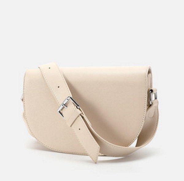 画像1: Woman's paragraph semi-circle bag diagonal contrast color matching color single shoulder diagonal handbag saddle bag 本革レザー半円型コントラストカラーマッチングシングルショルダー斜めハンドバッグサドルバッグトートショルダー斜め掛けバック  (1)