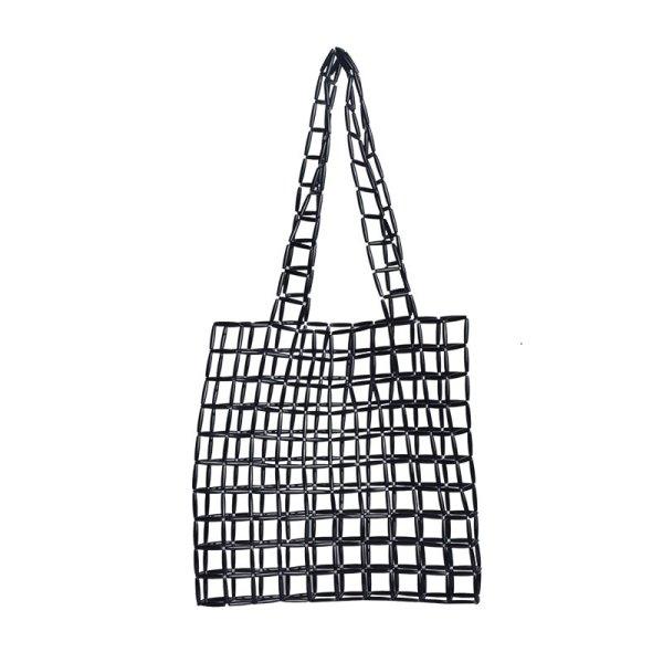 画像1: crown beaded handmade large capacity tote bag shoulder bag  shopping bag ハンドメイドクラウンビーズショルダートート エコバッグ (1)