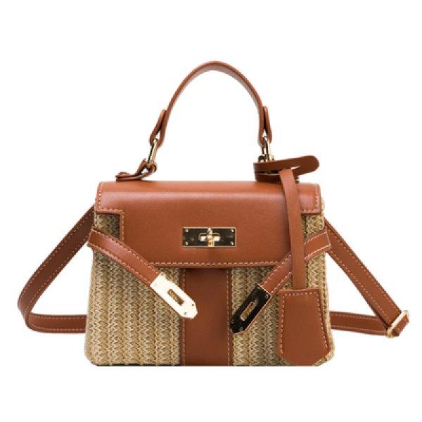 画像1: Woman Handmade rattan  straw handbag woven bag シンプルトート セカンド籠 かごバック 手提げ ショルダーバッグ 籐バッグ カゴバッグ ナチュラル (1)