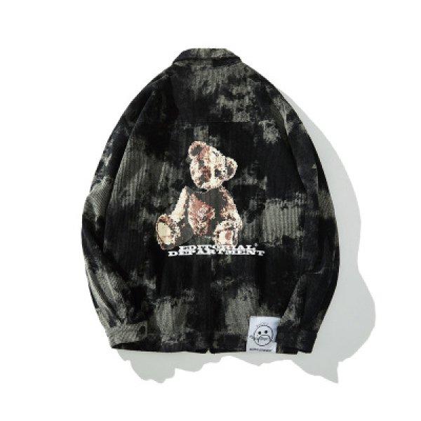 画像1:  lazy bear print loose corduroy jacket  men and women loose  jacket  レイジーベアプリントルーズコーデュロイジャケットオーバーサイズジャケットユニセッ クス男女兼用 (1)