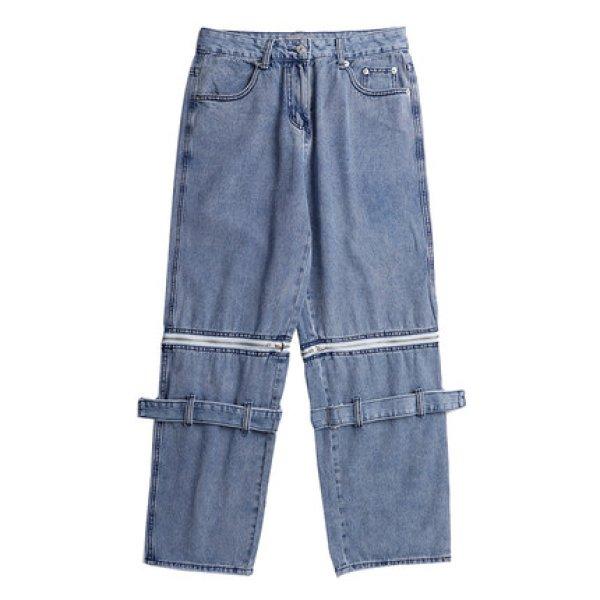 画像1: Men's detachable ribbon wide-leg loose straight-leg pants  メンズ 男女兼用取り外し可リボンワイドレッグルーズストレートレッグパンツウォッシュドオールドデニムパンツ (1)
