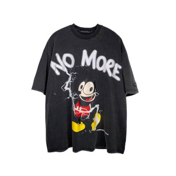 画像1: Men's Unisex Spoof cartoon Mickey print  Loose T-shirt ユニセックス 男女兼用ミッキープリントオーバーサイズ半袖Tシャツ (1)
