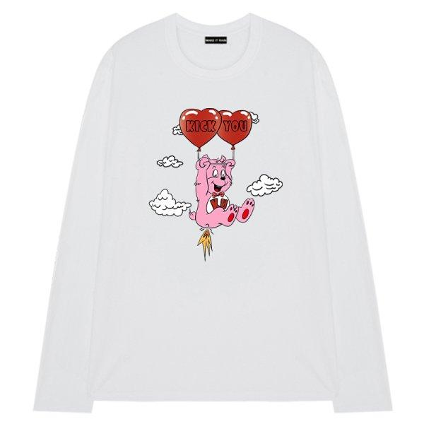 画像1: Men's Unisex loving bear  Loose T-shirt ユニセックス 男女兼用ラビングベアプリントオーバーサイズ長袖Tシャツ (1)