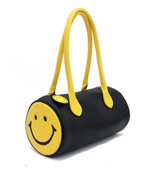画像1: Leather Smile tubular leather tote shoulder bag 本革スマイルラウンド筒形トートショルダーバックハンドバッグ  (1)