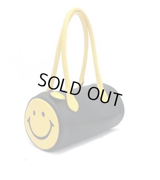 画像1: Smile tubular leather tote shoulder bag スマイルラウンド筒形トートショルダーバックハンドバッグ  (1)