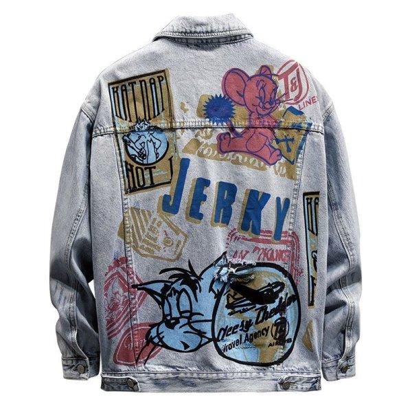 画像1:  Tom & Jerry long-sleeved graffiti irregular printing loose  denim jacketmen and women loose denim jacket  トム&ジェリーペイントオーバーサイズデニムジャケットユニセッ クス男女兼用コート (1)