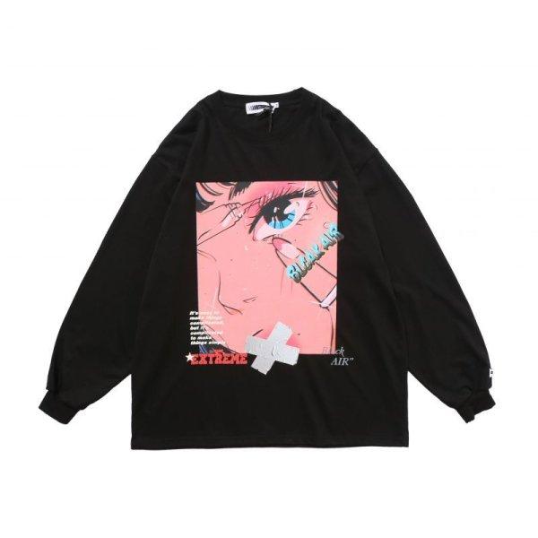 画像1: Men's Unisex two-dimensional long-sleeved T-shirt loose oversize pullover sweater   ユニセックス 男女兼用blcakalrオーバーサイズ長袖Tシャツ (1)
