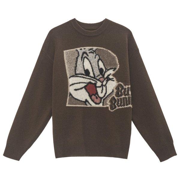 画像1: Women's Bucks bunny braid pullover sweater round neck loose sweater knit バックスバニー編み込みプルオーバーセーター セーターニット (1)