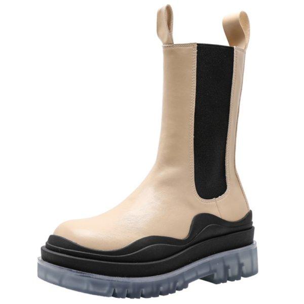 画像1:  women's  Middle tire boots   ミドル タイヤブーツサイドゴアレザーブーツ マーティンブーツ  (1)