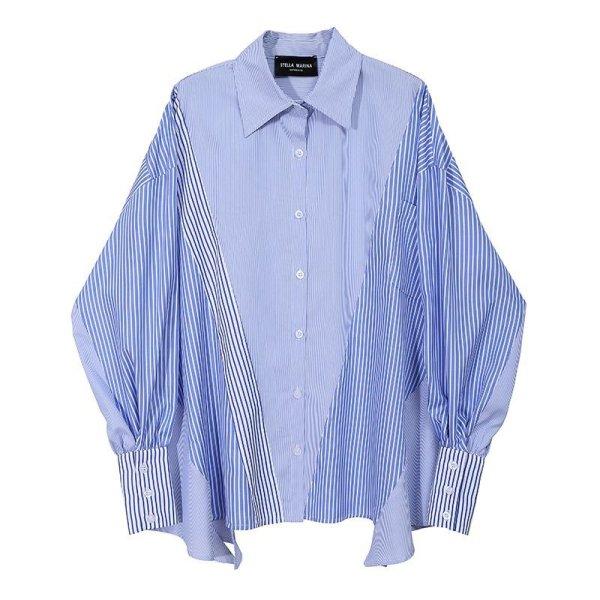 画像1: Women's stripe stitch long sleeve shirt  ストライプステッチ長袖シャツ (1)