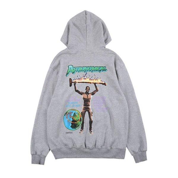 画像1:  NAGRI Over Size TravisScott character print hoodie   オーバーサイズ ユニセックス 男女兼用TravisScottキャラクタープリント  フーディ パーカー (1)