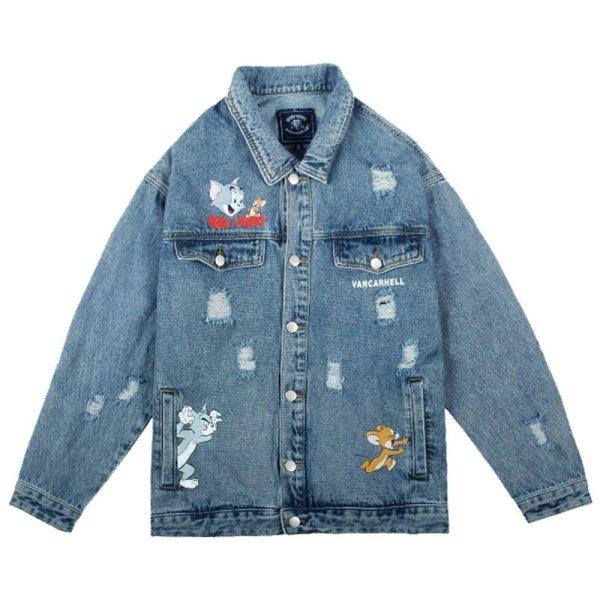 画像1: Tom & Jerry New Men's  men and womencouple denim jacket coat メンズ ユニセックス 男女兼用 トム&ジェリー デニムジャケット Gジャン コート (1)