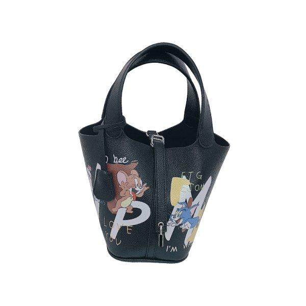 画像1: New Woman's graffiti Tom & Jerry handbagbasket tote bag portable bucket bag トム&ジェリーグラフィックプリントバケットバッグトート ハンドバック  (1)