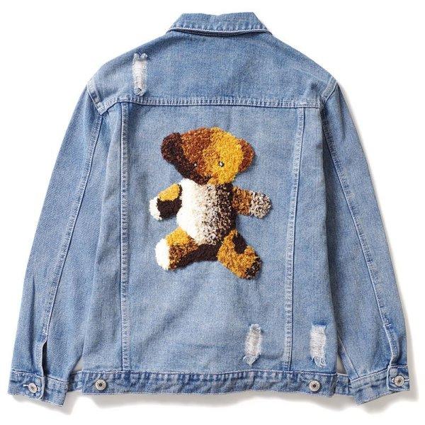 画像1: New Men's Embroidery Bear Bear Denim Damage G Jean Jacket men and women メンズ ユニセックス 男女兼用 刺繍ベアー熊デニムダメージGジャン ジャケット (1)