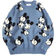 画像1:  men's and women's Mickey Mouse Print Casual Crew Neck Sweater  オーバーサイズ ユニセックス 男女兼用ミッキーマウスプリントカジュアルクルーネックセーター (1)
