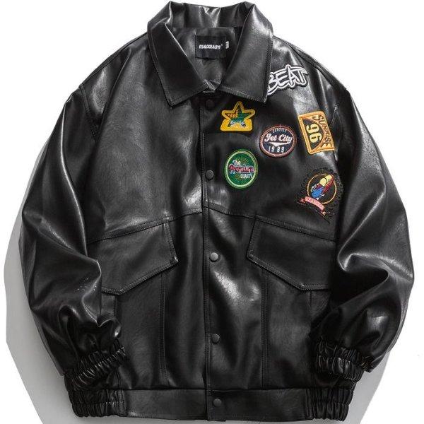 画像1:  Men's  embroidery label shoulder elastic cuff jacket men and women メンズ ユニセックス 男女兼用レザーエンブレム 刺繍 ブルゾン ジャケット (1)