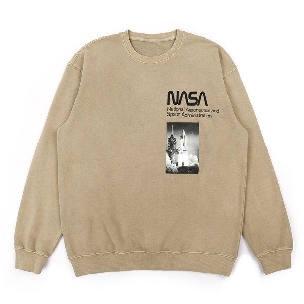 画像1: NASA Letter Print Trainer Round Neck Pullover  ナサレタープリントプルオーバー オーバーサイズ ユニセックス 男女兼用 (1)