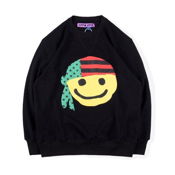 画像1: turban smiley face long-sleeved t-shirt Round Neck Pullover  ターバンスマイリーフェイス長袖スウェットプルオーバートレーナー  ユニセックス 男女兼用 (1)