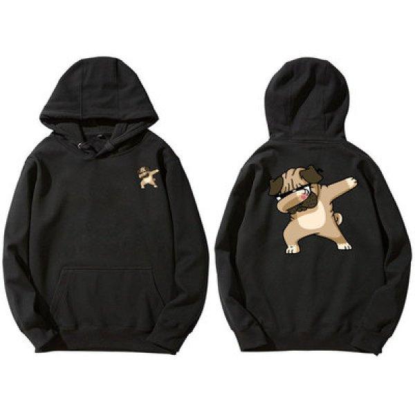 画像1: Dance Dog Print men's and women's sports sweatshirt hoodie   オーバーサイズ ユニセックス 男女兼用ダンシングドック犬プリント  フーディ パーカー (1)