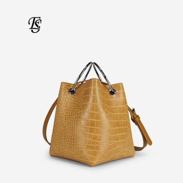 画像1: Crocodile simple ring hand bag bucket bag Tote  Bag リングハンドルミニ トート ショルダーバッグ   (1)