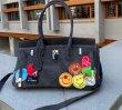 画像5: Woman's smiley& large-capacity denim platinum bag underarm bag single shoulder Kelly bag スマイリーエンブレム付きデニムショルダートートバッグ (5)