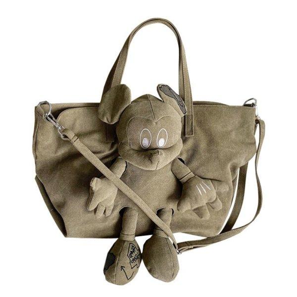 画像1: Woman's Mickey casual bag Large capacity canvas bag ミッキーマウスキャンバスカジュアルショルダートートバッグ (1)