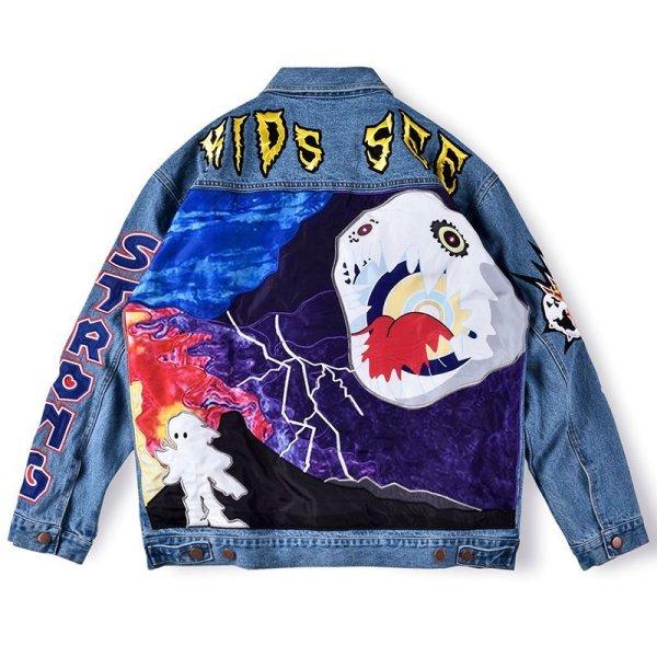 画像1: New Men's Travis Scott Astrowrld Jacket Washed Embroidered Denim All-match Jacket G Jean Jacket men and women メンズ ユニセックス 男女兼用ウォッシュ刺繍デニム デニムGジャン ジャケット (1)