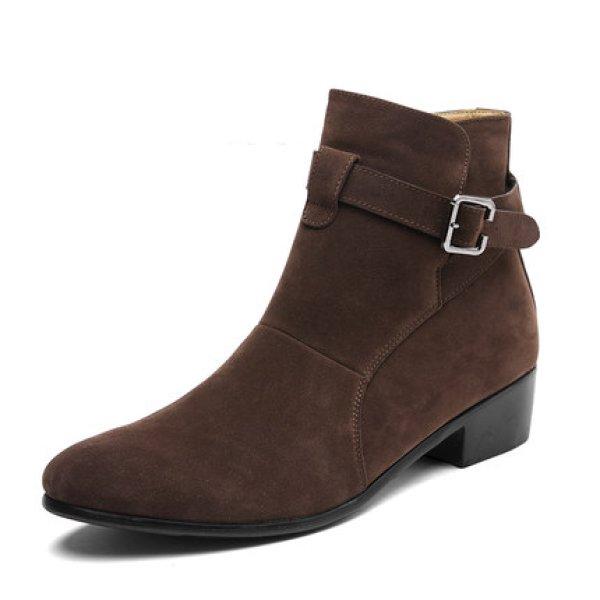 画像1: British high-top pu suede boots shoes メンズ イギリス調 ブリティッシュ ハイカット サイドゴア スエード レザーブーツ スニーカーシューズ (1)