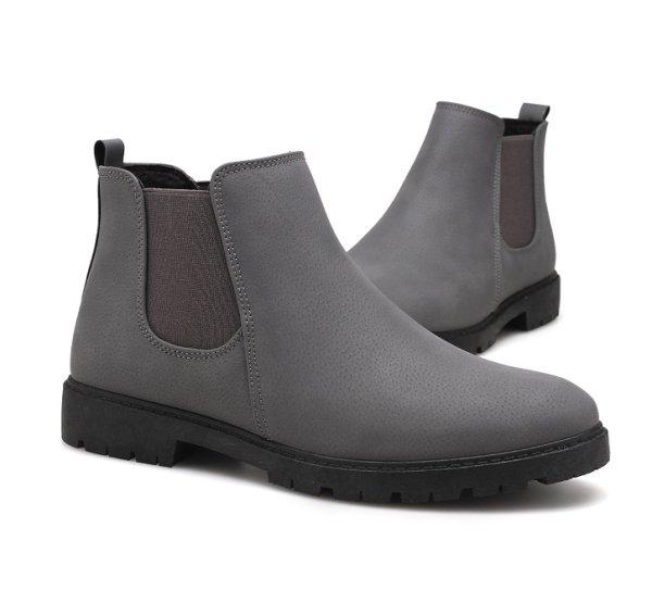 画像1: British high-top shoes メンズ イギリス調 ブリティッシュ ハイカット サイドゴア レザーブーツ スニーカー シューズ (1)
